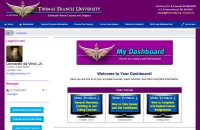 The TFU Dashboard - Your Starting Point for Courses and Information.